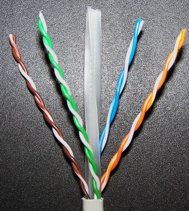 восемь проводков UTP витой пары